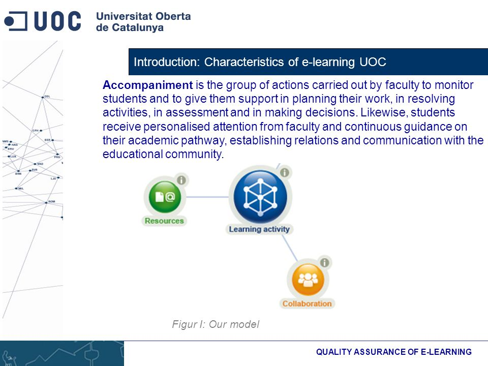 Introduction: Characteristics of e-learning UOC QUALITY ASSURANCE OF E-LEARNING Figur I: Our model Accompaniment is the group of actions carried out by faculty to monitor students and to give them support in planning their work, in resolving activities, in assessment and in making decisions.