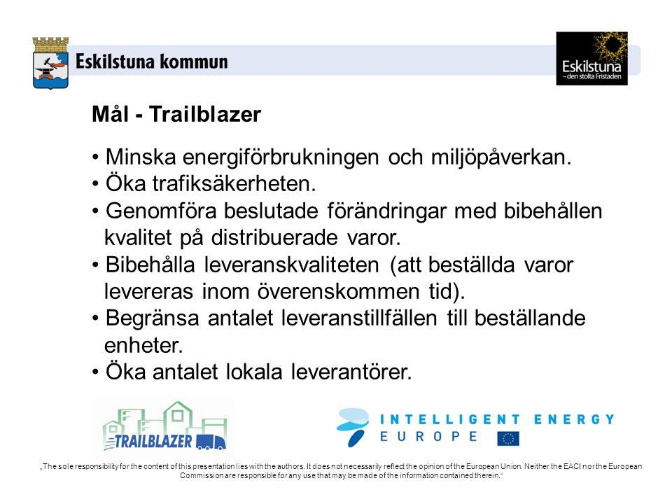 Mål - Trailblazer Minska energiförbrukningen och miljöpåverkan. Öka trafiksäkerheten. Genomföra beslutade förändringar med bibehållen kvalitet på dist