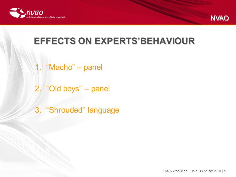 NVAO ENQA Workshop - Oslo - February 2008 | 5 EFFECTS ON EXPERTSBEHAVIOUR 1.Macho – panel 2.Old boys – panel 3.Shrouded language