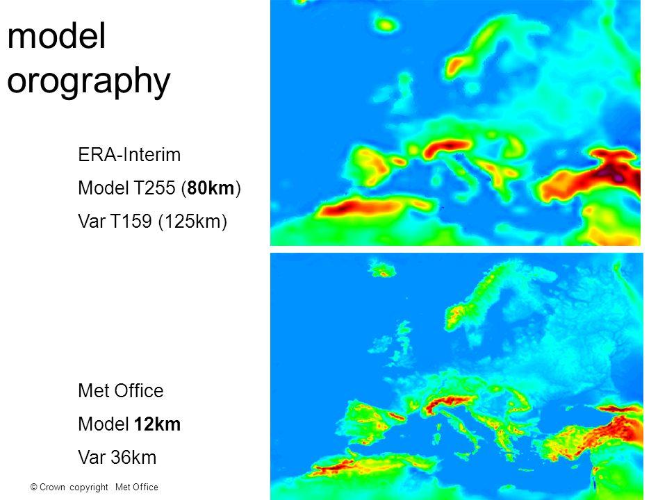 © Crown copyright Met Office model orography ERA-Interim Model T255 (80km) Var T159 (125km) Met Office Model 12km Var 36km
