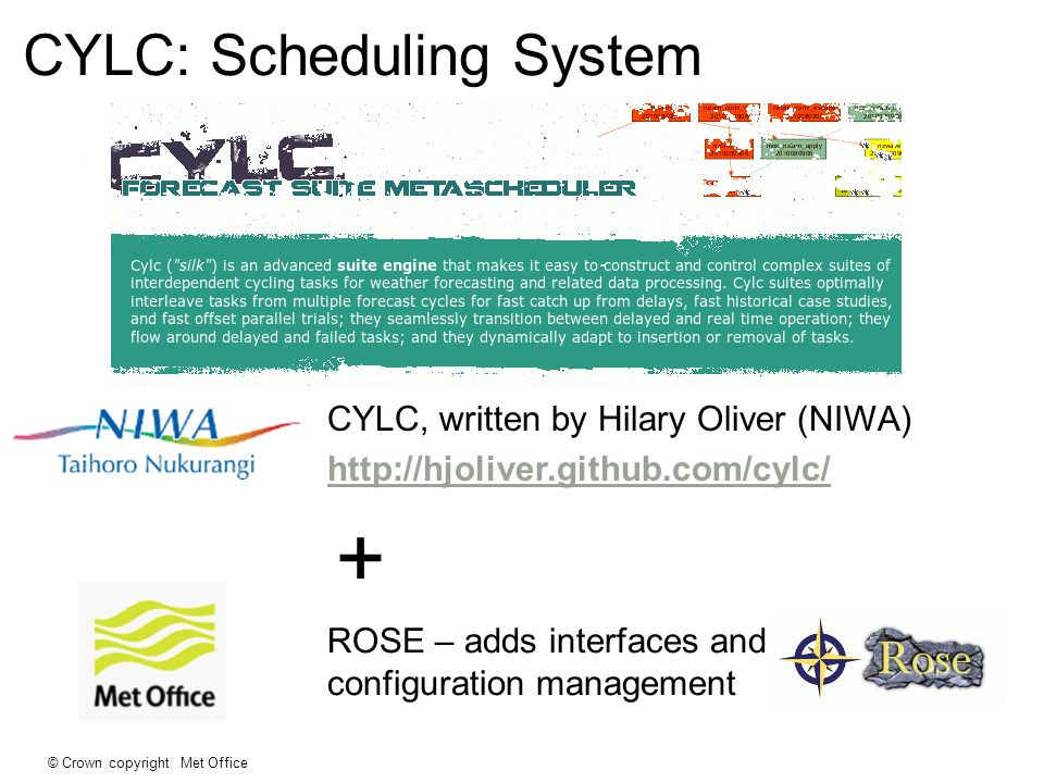© Crown copyright Met Office CYLC: Scheduling System CYLC, written by Hilary Oliver (NIWA) http://hjoliver.github.com/cylc/ + ROSE – adds interfaces and configuration management