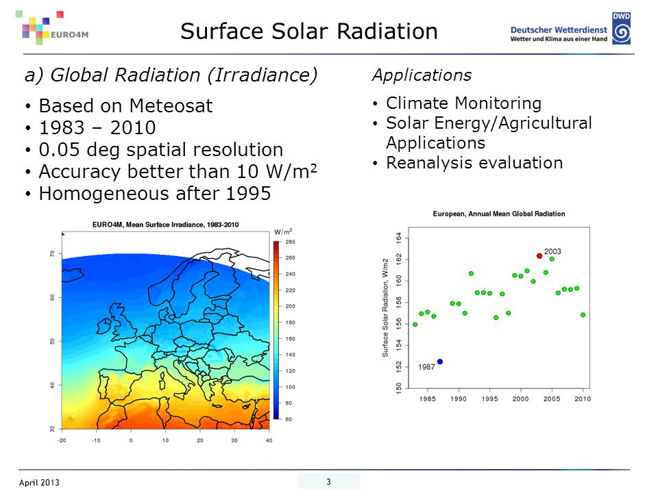 April 2013 4 Surface Solar Radiation b) Global Radiation (Irradiance) Based on AVHRR 1982 – 2009 0.25 spatial resolution Accuracy better than 10 W/m 2 Applications Climate Monitoring Solar Energy/Agricultural Applications Reanalysis Evaluation Data available Results from modified retrieval of solar radiation currently under investigation, Merging of different data sets possible