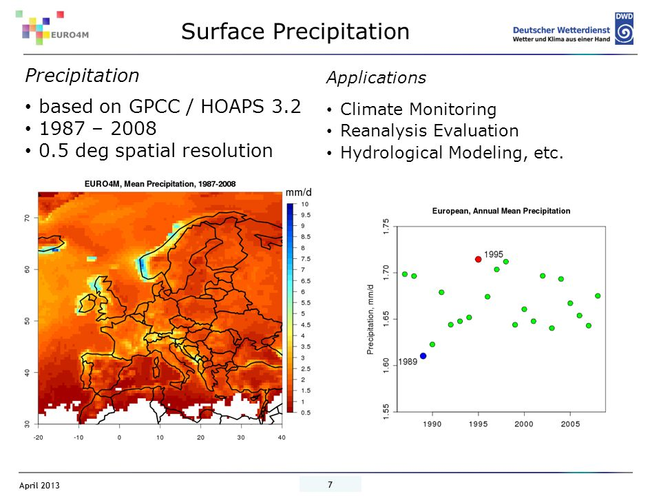 April 2013 8 EURO4M Precipitation vs.