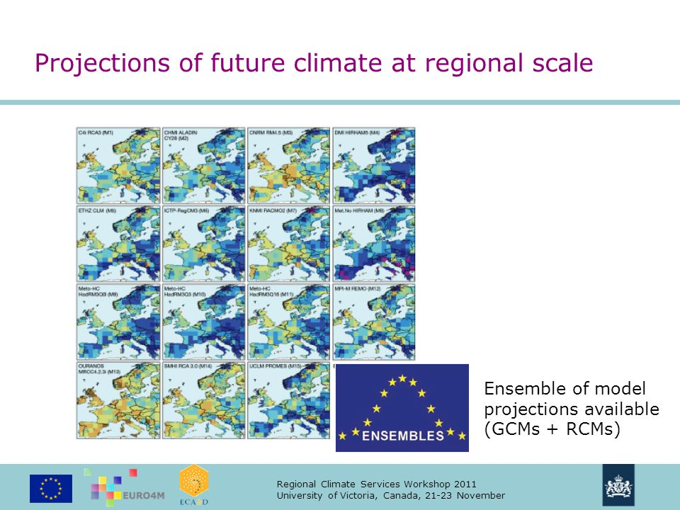 Regional Climate Services Workshop 2011 University of Victoria, Canada, 21-23 November Projections of future climate at regional scale Ensemble of model projections available (GCMs + RCMs)