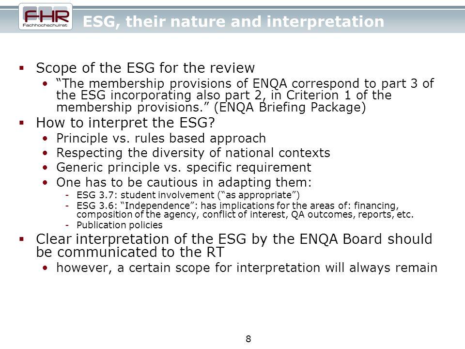 9 ESG, their interpretation and improvement Question of compliance.
