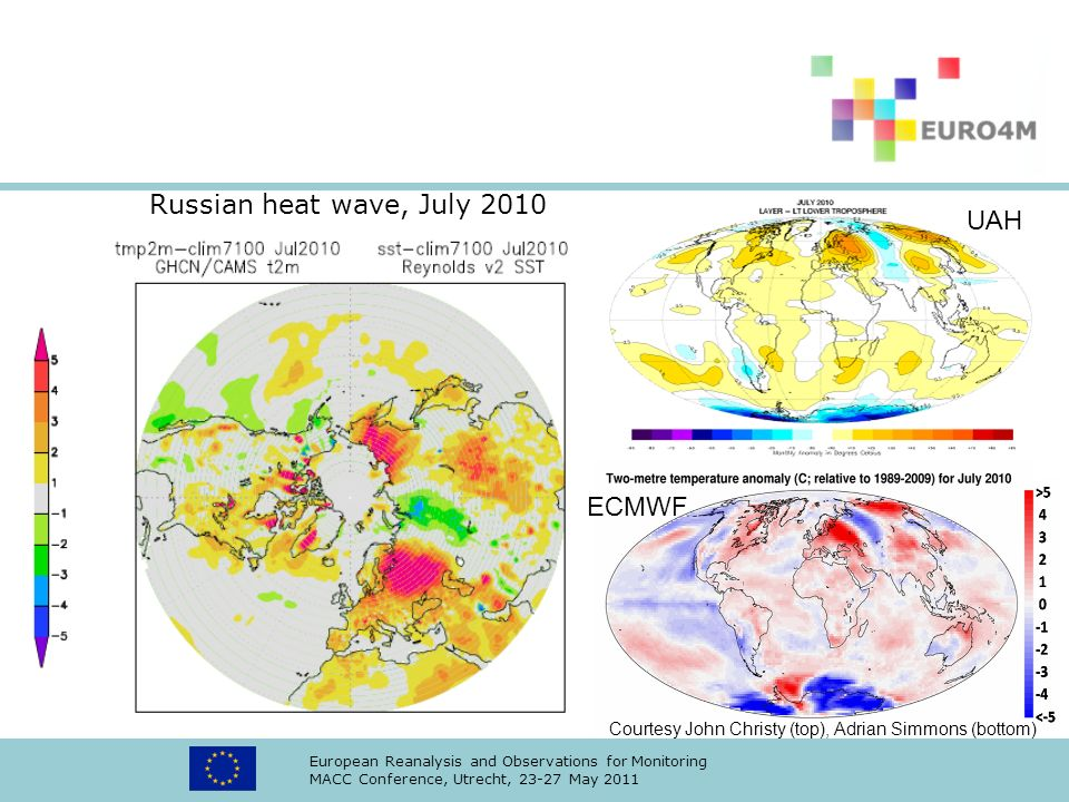 European Reanalysis and Observations for Monitoring MACC Conference, Utrecht, 23-27 May 2011 Russian heat wave, July 2010 ECMWF UAH Courtesy John Chri
