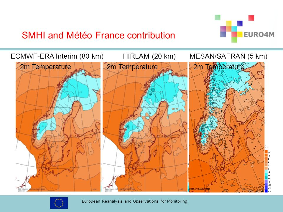 European Reanalysis and Observations for Monitoring ECMWF-ERA Interim (80 km) HIRLAM (20 km) MESAN/SAFRAN (5 km) 2m Temperature 2m Temperature 2m Temperature SMHI and Météo France contribution