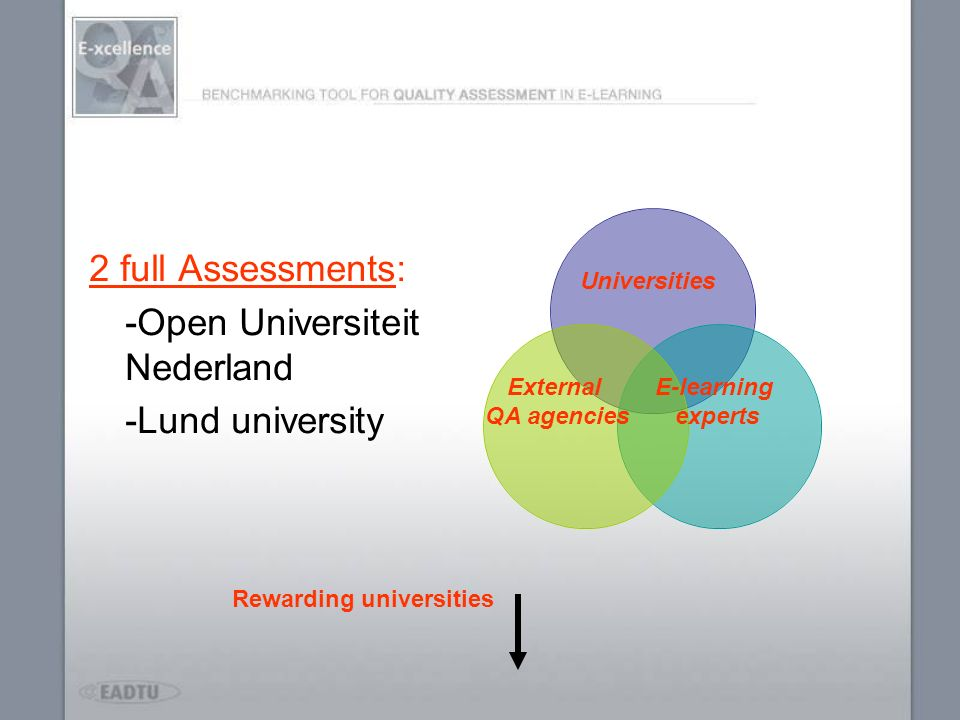 2 full Assessments: -Open Universiteit Nederland -Lund university Universities External QA agencies E-learning experts Rewarding universities