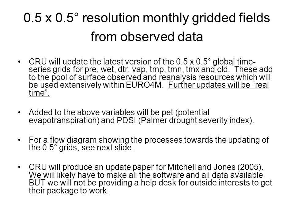 0.5 x 0.5° resolution monthly gridded fields from observed data CRU will update the latest version of the 0.5 x 0.5° global time- series grids for pre, wet, dtr, vap, tmp, tmn, tmx and cld.