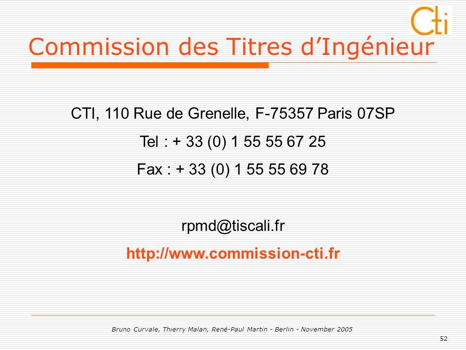 52 Bruno Curvale, Thierry Malan, René-Paul Martin - Berlin - November 2005 CTI, 110 Rue de Grenelle, F-75357 Paris 07SP Tel : + 33 (0) 1 55 55 67 25 F