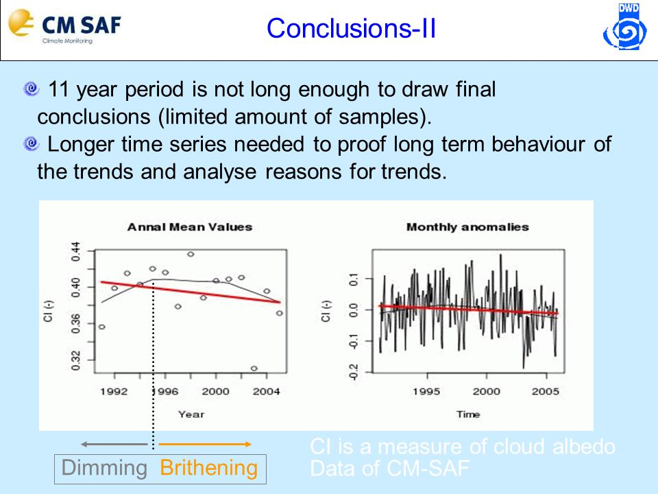 Conclusions-II 11 year period is not long enough to draw final conclusions (limited amount of samples). Longer time series needed to proof long term b