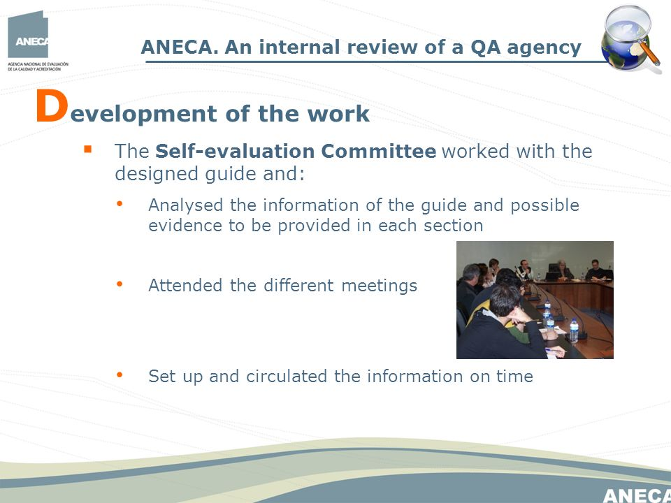 D evelopment of the work ANECA.