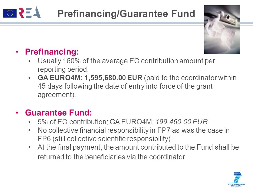 Prefinancing/Guarantee Fund Prefinancing: Usually 160% of the average EC contribution amount per reporting period; GA EURO4M: 1,595,680.00 EUR (paid t