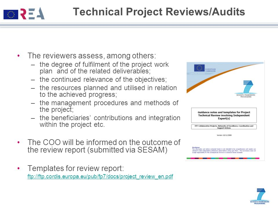 Technical Project Reviews/Audits The reviewers assess, among others: –the degree of fulfilment of the project work plan and of the related deliverable