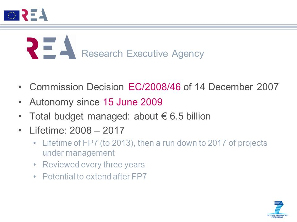 Commission Decision EC/2008/46 of 14 December 2007 Autonomy since 15 June 2009 Total budget managed: about 6.5 billion Lifetime: 2008 – 2017 Lifetime