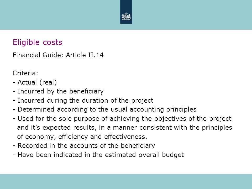 Eligible costs Financial Guide: Article II.14 Criteria: - Actual (real) - Incurred by the beneficiary - Incurred during the duration of the project - Determined according to the usual accounting principles - Used for the sole purpose of achieving the objectives of the project and its expected results, in a manner consistent with the principles of economy, efficiency and effectiveness.