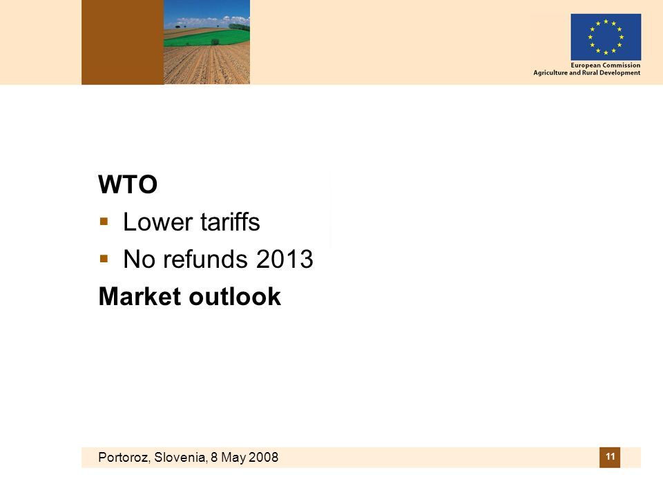 Portoroz, Slovenia, 8 May 2008 11 WTO Lower tariffs No refunds 2013 Market outlook