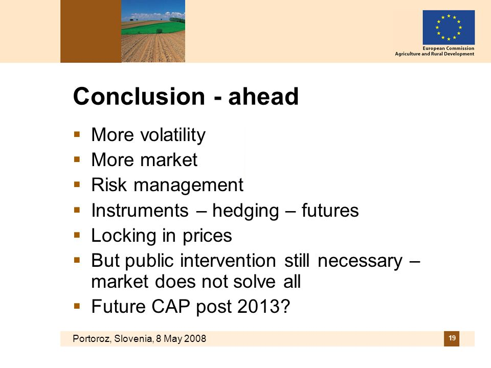 Portoroz, Slovenia, 8 May 2008 19 Conclusion - ahead More volatility More market Risk management Instruments – hedging – futures Locking in prices But