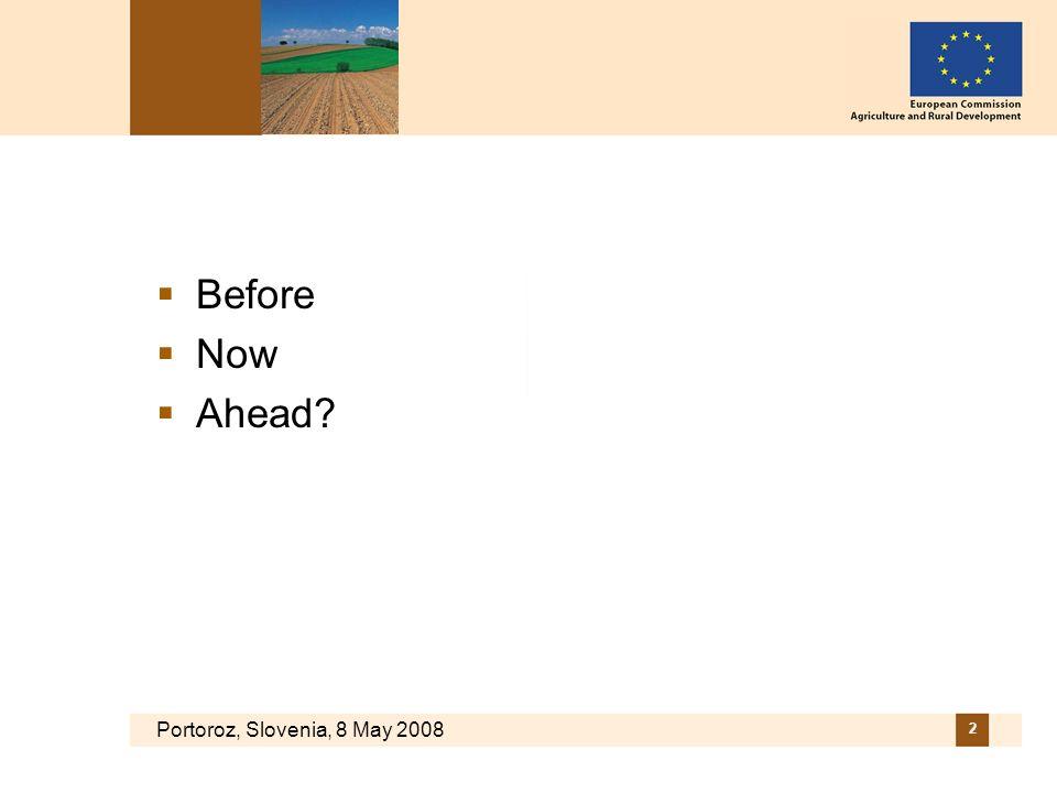 Portoroz, Slovenia, 8 May 2008 2 Before Now Ahead?