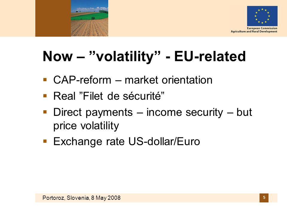Portoroz, Slovenia, 8 May 2008 5 Now – volatility - EU-related CAP-reform – market orientation Real Filet de sécurité Direct payments – income security – but price volatility Exchange rate US-dollar/Euro