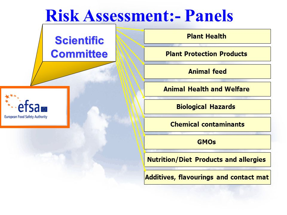Plant Health Plant Protection Products Animal feed Animal Health and Welfare Biological Hazards Chemical contaminants GMOs Nutrition/Diet Products and allergies Additives, flavourings and contact mat ScientificCommittee Risk Assessment:- Panels