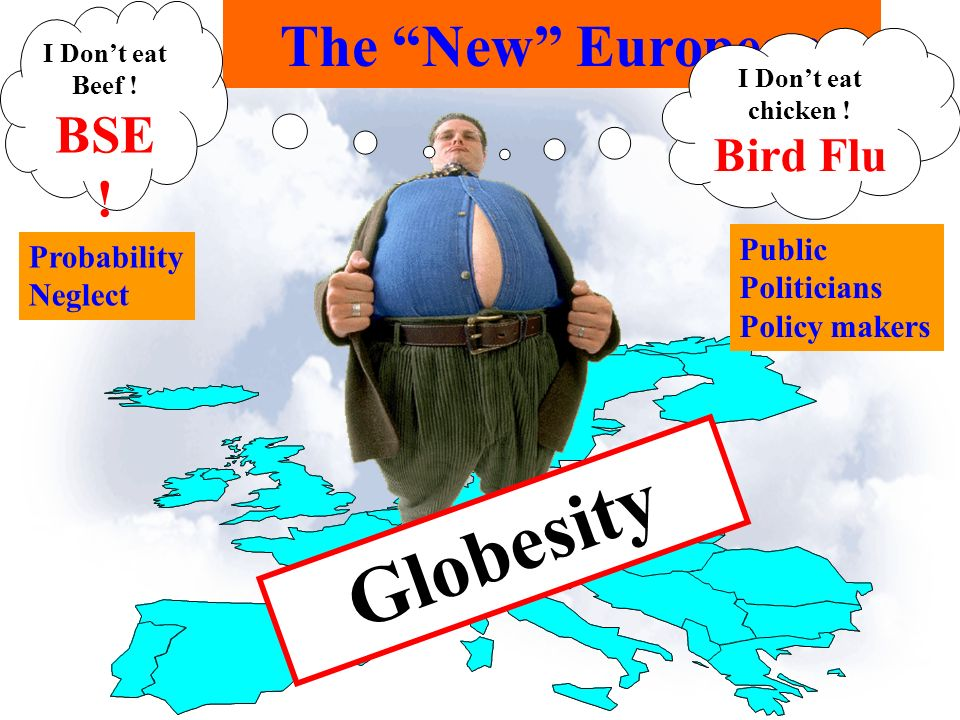 The New European Globesity I Dont eat chicken ! Bird Flu I Dont eat Beef ! BSE ! Probability Neglect Public Politicians Policy makers