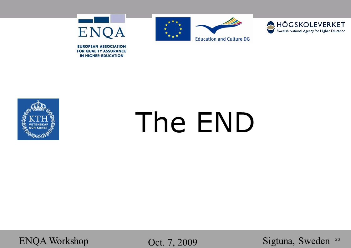 30 ENQA Workshop Oct. 7, 2009 Sigtuna, Sweden The END