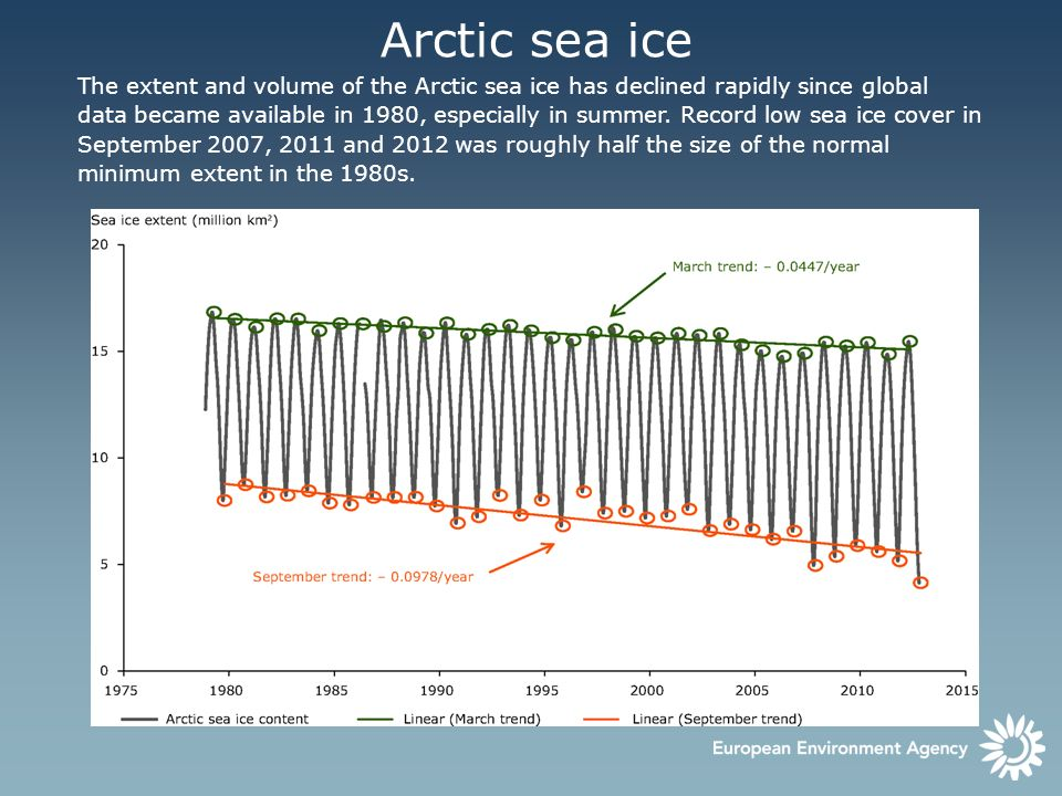 Arctic sea ice The extent and volume of the Arctic sea ice has declined rapidly since global data became available in 1980, especially in summer. Reco