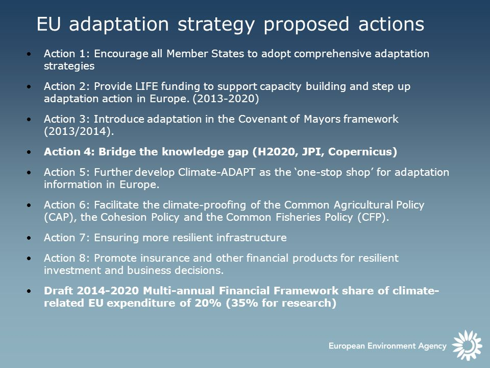 Action 1: Encourage all Member States to adopt comprehensive adaptation strategies Action 2: Provide LIFE funding to support capacity building and ste