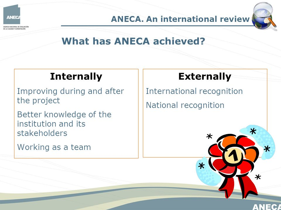 Internally Improving during and after the project Better knowledge of the institution and its stakeholders Working as a team Externally International recognition National recognition ANECA.