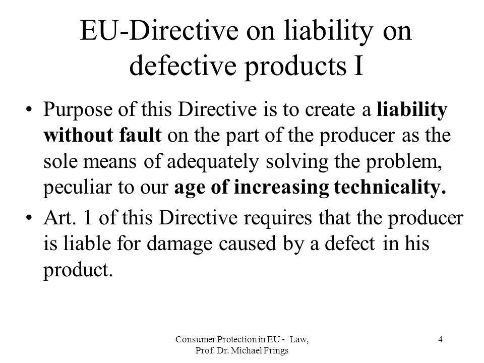 Consumer Protection in EU - Law, Prof.Dr.