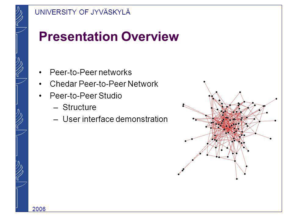 UNIVERSITY OF JYVÄSKYLÄ 2006 Presentation Overview Peer-to-Peer networks Chedar Peer-to-Peer Network Peer-to-Peer Studio –Structure –User interface de