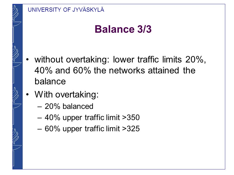 UNIVERSITY OF JYVÄSKYLÄ Balance 3/3 without overtaking: lower traffic limits 20%, 40% and 60% the networks attained the balance With overtaking: –20% balanced –40% upper traffic limit >350 –60% upper traffic limit >325