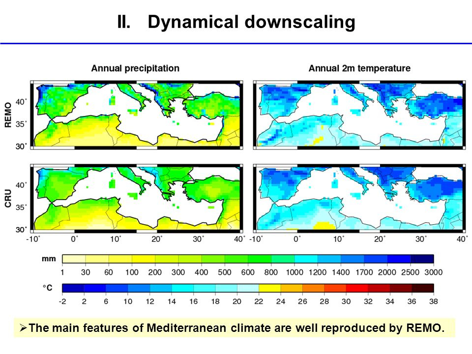II. Dynamical downscaling The main features of Mediterranean climate are well reproduced by REMO.