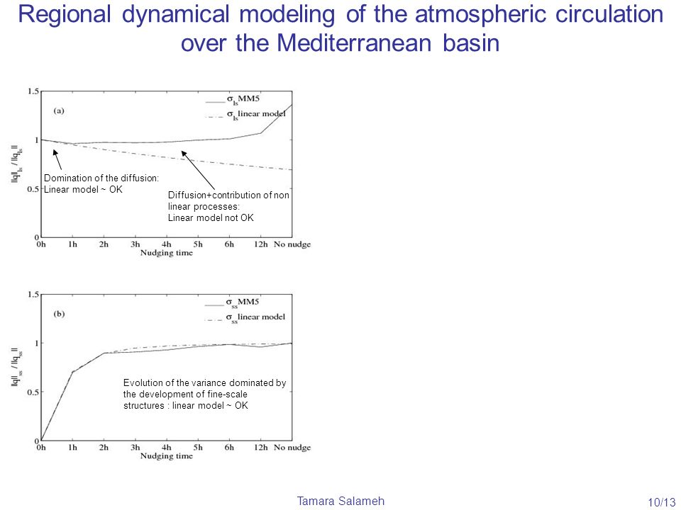 Tamara Salameh Regional dynamical modeling of the atmospheric circulation over the Mediterranean basin Domination of the diffusion: Linear model ~ OK Diffusion+contribution of non linear processes: Linear model not OK Evolution of the variance dominated by the development of fine-scale structures : linear model ~ OK 10/13