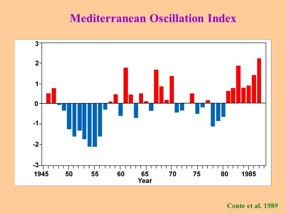 Mediterranean Oscillation Index (Conte et al.1989): Difference of normalized geop.