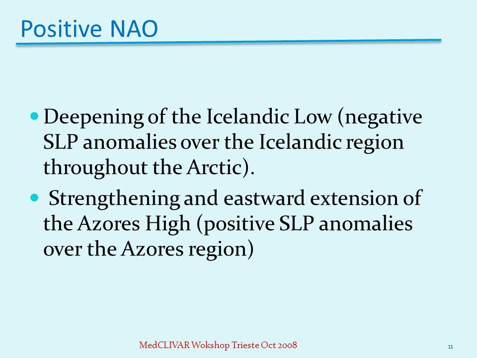 Positive NAO Deepening of the Icelandic Low (negative SLP anomalies over the Icelandic region throughout the Arctic).