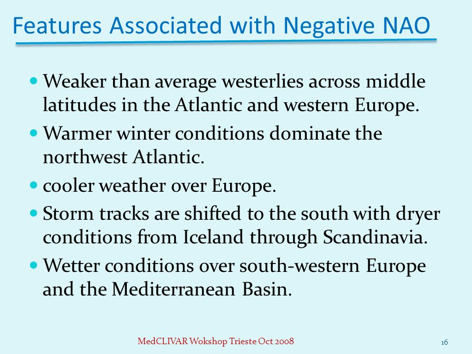 Weaker than average westerlies across middle latitudes in the Atlantic and western Europe.