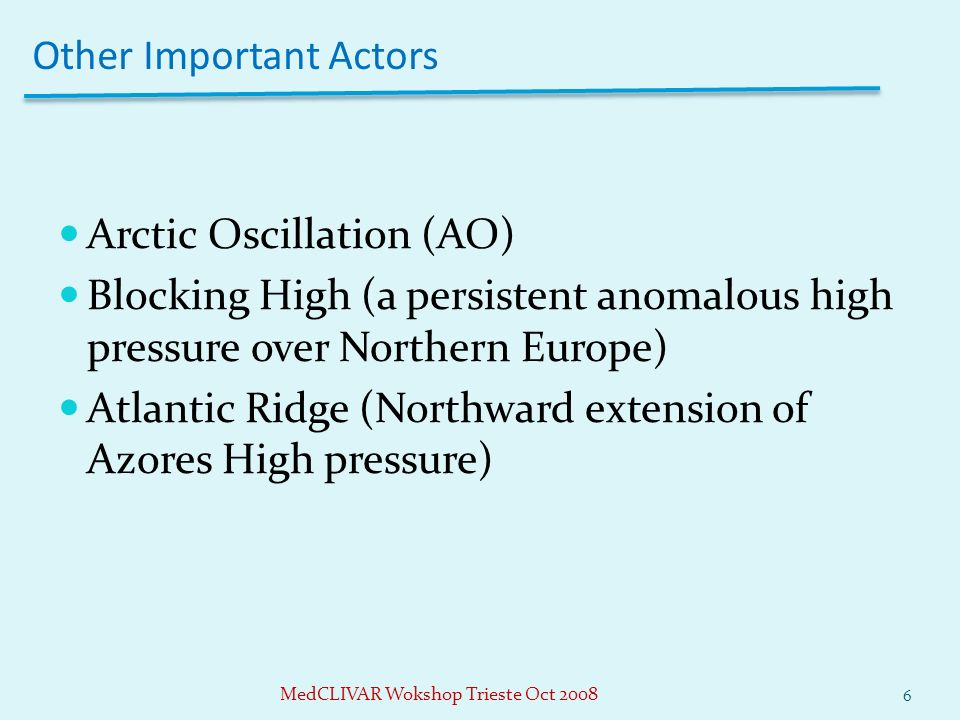 Other Important Actors Arctic Oscillation (AO) Blocking High (a persistent anomalous high pressure over Northern Europe) Atlantic Ridge (Northward ext