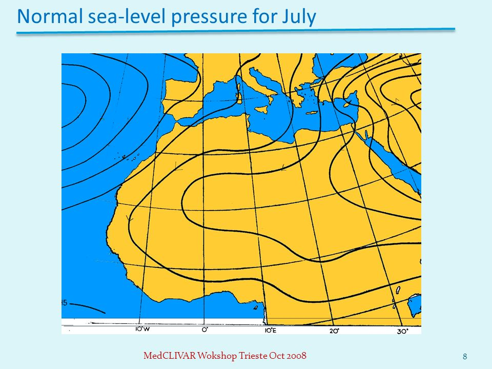 Normal sea-level pressure for July 8 MedCLIVAR Wokshop Trieste Oct 2008