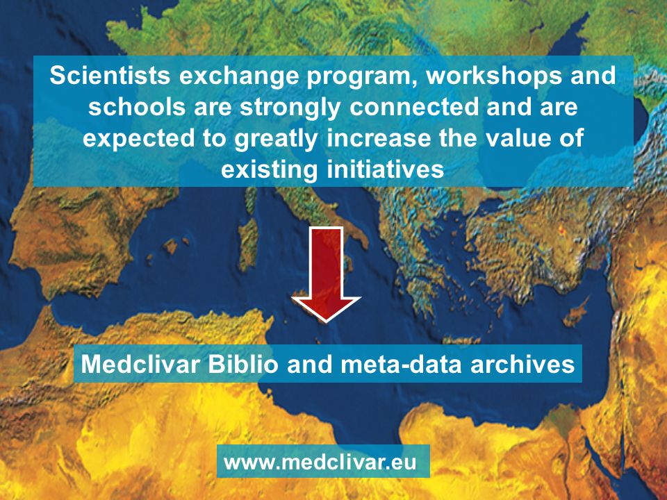 Scientists exchange program, workshops and schools are strongly connected and are expected to greatly increase the value of existing initiatives Medclivar Biblio and meta-data archives www.medclivar.eu