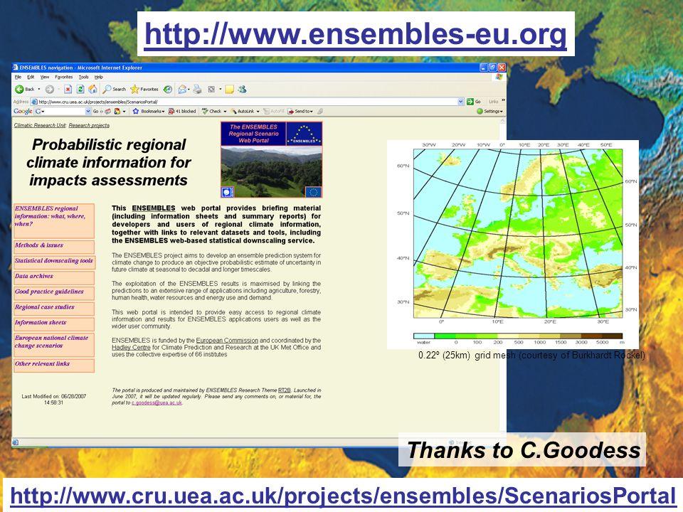 http://www.ensembles-eu.org http://www.cru.uea.ac.uk/projects/ensembles/ScenariosPortal Thanks to C.Goodess 0.22º (25km) grid mesh (courtesy of Burkha