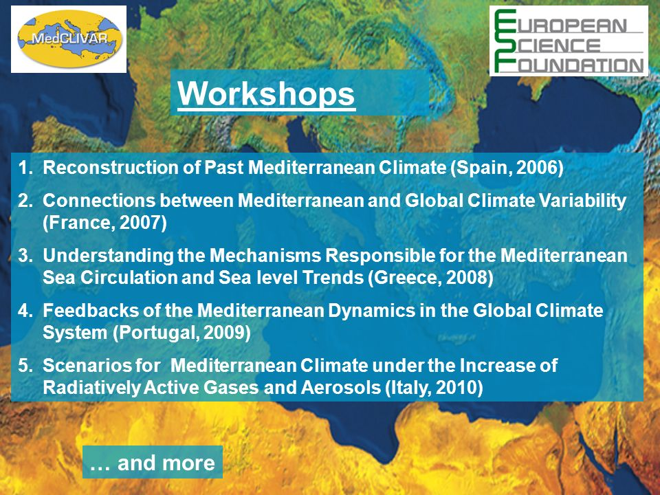 1.Reconstruction of Past Mediterranean Climate (Spain, 2006) 2.Connections between Mediterranean and Global Climate Variability (France, 2007) 3.Understanding the Mechanisms Responsible for the Mediterranean Sea Circulation and Sea level Trends (Greece, 2008) 4.Feedbacks of the Mediterranean Dynamics in the Global Climate System (Portugal, 2009) 5.Scenarios for Mediterranean Climate under the Increase of Radiatively Active Gases and Aerosols (Italy, 2010) Workshops … and more