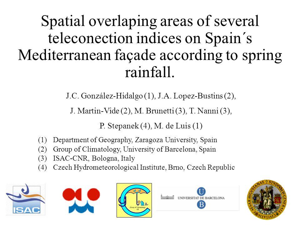 Positive correlation Negative correlation Pearson > 0.50, <-0.50 FEBRUARY correlation between rainfall and teleconnection
