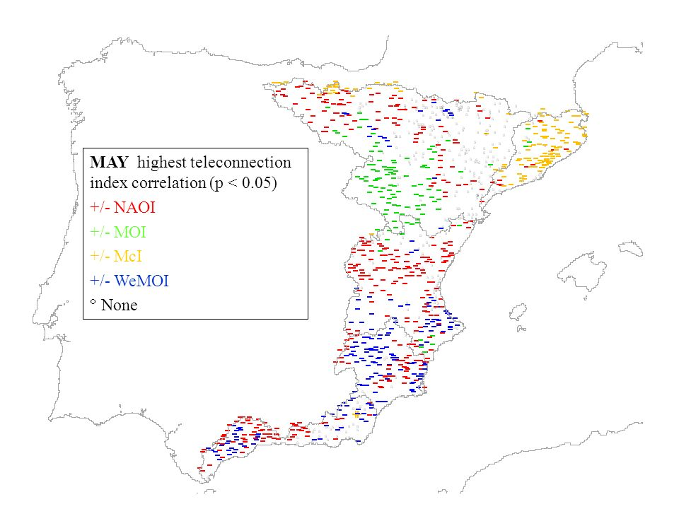 MAY highest teleconnection index correlation (p < 0.05) +/- NAOI +/- MOI +/- McI +/- WeMOI None