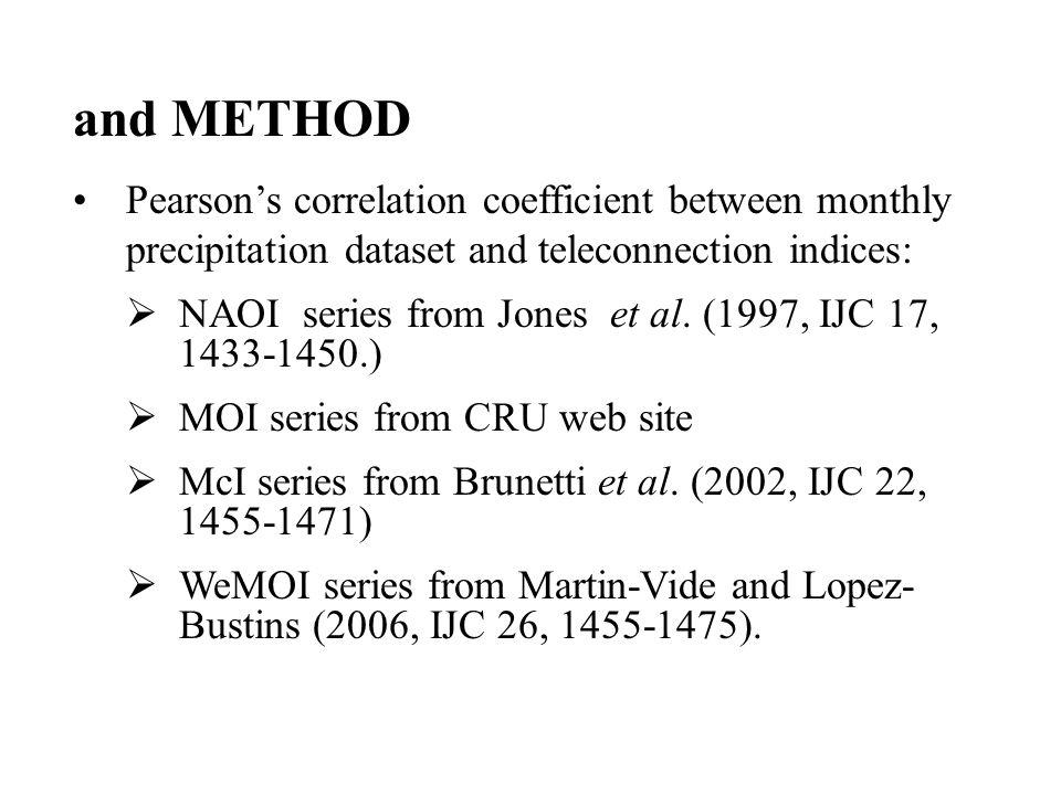 Positive correlation Negative correlation Pearson > 0.50, <-0.50 McI NAO APRIL correlation between rainfall and teleconnection