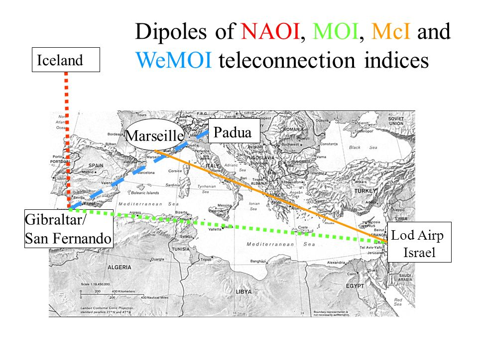 Dipoles of NAOI, MOI, McI and WeMOI teleconnection indices Padua Lod Airp Israel Marseille Padua Lod Airp Israel Marseille Gibraltar/ San Fernando Iceland