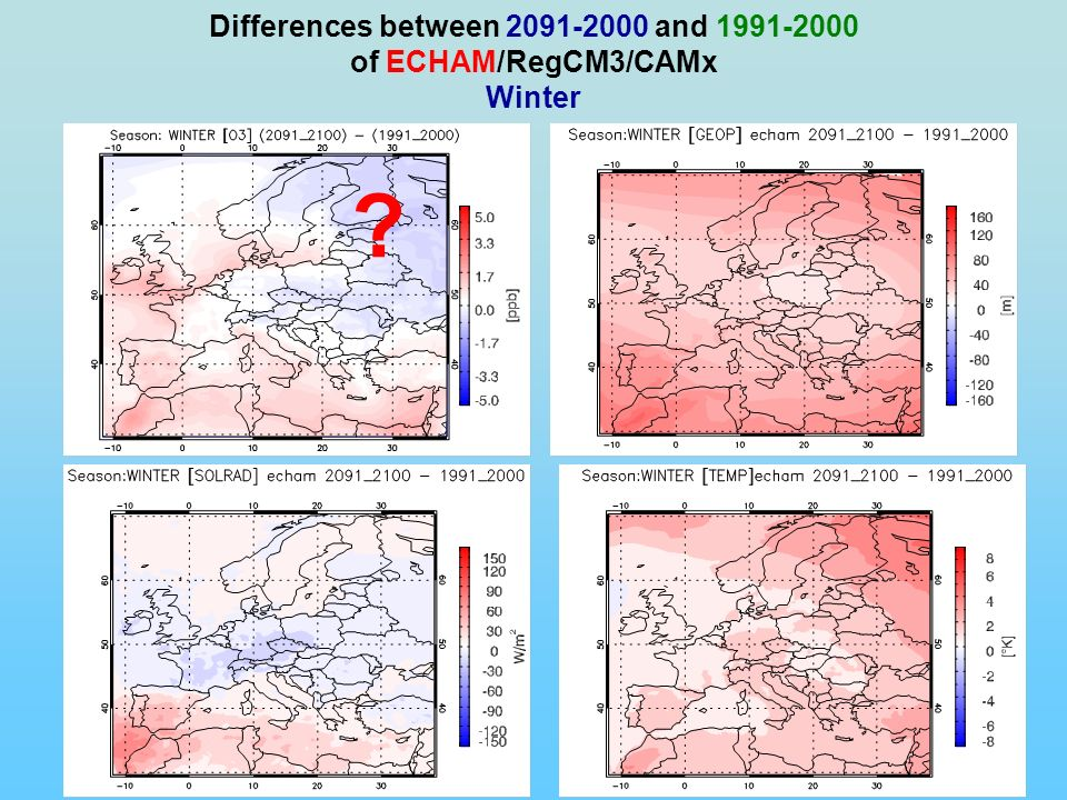 Differences between 2091-2000 and 1991-2000 of ECHAM/RegCM3/CAMx Winter ?