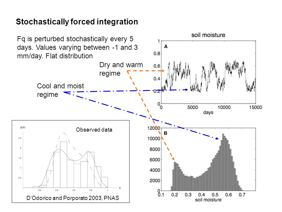 Stochastically forced integration Fq is perturbed stochastically every 5 days. Values varying between -1 and 3 mm/day. Flat distribution Cool and mois