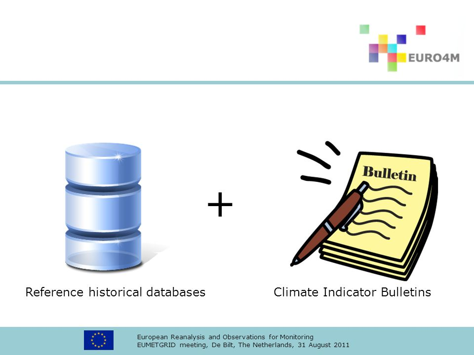 European Reanalysis and Observations for Monitoring EUMETGRID meeting, De Bilt, The Netherlands, 31 August 2011 + Reference historical databases Climate Indicator Bulletins